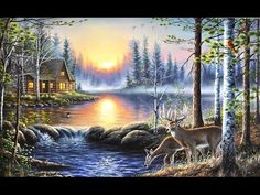 Acrylic landscape speed painting - Lake cabin at sunset