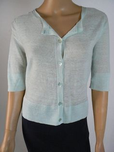 $278 Eileen Fisher Rustic Twisted Tape Natural Linen 3//4 Sleeve Cardigan E523