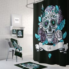 Personalized Sugar Skull Shower Curtain Bath Mat by FolkandFunky Skull Decor, Skull Art, Sugar Skull Shower Curtain, Skull Bedroom, Bling Bathroom, Pop Rock, Scary Houses, Home Comforts, Fabric Shower Curtains
