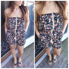 """Black & orange floral romper Get summer ready in this adorable floral romper. Strapless. Flattering blouson bodice. Crochet strip along center and tasseled drawstring. 100% polyester. Approximately 23"""" long. SMALL: bust 32"""" MEDIUM: bust 34"""" LARGE: bust 38"""". New without tags. ☀️15% off bundles for new buyers☀️25% off bundles for repeat buyers ☀️ CupofTea Pants Jumpsuits & Rompers"""