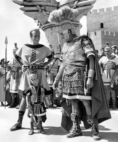 Charlton Heston and Jack Hawkins on the set of Ben Hur