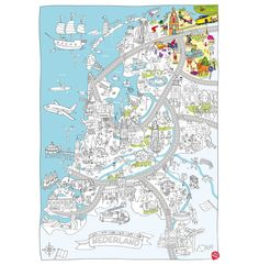 Discover the Netherlands & Amsterdam with the big color- & play city maps. The cheerful illustrations provide hours of fun for children. School Teacher, Primary School, Dutch Language, Creative Kids, Painting & Drawing, Netherlands, Cool Pictures, Map, Projects