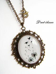 Pitypang - madár nyaklánc. :), Ékszer, óra, Medál, Nyaklánc, Mindenmás, Üvegművészet, Meska