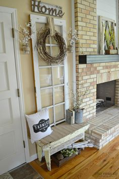Sweet Cottage Shabby Chic Entryway Decor Ideas - Home Time Country Decor, Rustic Decor, Primitive Decor, Primitive Kitchen, Primitive Country, Rustic Style, Country Style, Rustic Farmhouse Entryway, Farmhouse Front