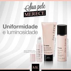 Manchas? Não com os produtos Even Complexion TimeWise®! O Sérum Clareador, a Loção e a Máscara foram elaborados para uniformizar a pele e devolver o brilho natural. #cuidadosMK #SuaPeleMerece #skincare #MaryKay #Makeup #Maquiagem