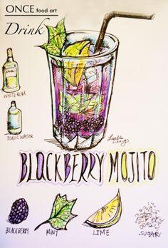 Blackberry Mojito  ONCE food art by Leslie Wang