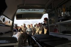 German Defense Minister Ursula von der Leyen inspects an ambulance during a visit to the Mera training camp for Peshmerga fighters in northern Erbil the capital of the Kurdistan region in Iraq 11 February 2018. German Bundeswehr soldiers are training Kurdish Peshmerga fighters. EPA-EFE/GAILAN HAJI #press #photojournalist #germany #photojournalism #news #german #kurdistan #canon5dmarkiii #5dmarkiii #canon #masks #training #defenseminister #military #peshmerga #epa #europe #erbil #photography…