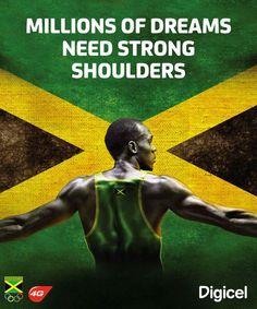 Usain Bolt. Millions of Dreams Need Strong Shoulders. #UsainBolt #Jamaica.