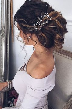 30 Wedding Hairstyles For Long Hair From Ulyana Aster ❤ wedding hairstyle from ulyana aster updo with accessories ombre ulyana aster ❤ See more: http://www.weddingforward.com/wedding-hairstyle-from-ulyana-aster/ #wedding #bride #weddinghairstyles