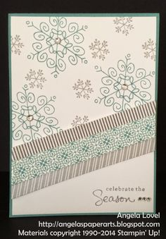 Features the Stampin' Up! Endless Wishes stamp set which can be purchased from my online store: http://www3.stampinup.com/ECWeb/ProductDetails.aspx?productID=136829&dbwsdemoid=4011749  Other key Stampin' Up! products used include: All Is Calm washi tape set, Lost Lagoon ink and cardstock, Smoky Slate ink, Whisper White cardstock, Rhinestones and dimensionals.