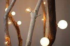 wood branches lamp