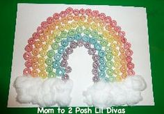 fun froot loop rainbow - easy fine motor craft for St. Patrick's Day, spring or learning about rainbows