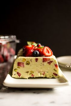 Avocado Semifreddo with Strawberries and Basil - a delicious dessert that is paleo, vegan, and gluten free! | healthynibblesandbits.com