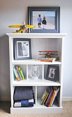 This started as a cheap laminate bookcase! Learn how to upgrade from cheap to this designer look using mostly just scrap wood. @Remodelaholic @ehow
