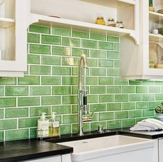 green subway tile backsplash in white kitchen. eco-friendly 62