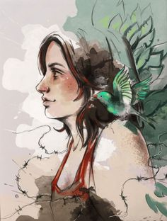 Commissioned Digital Portrait  Nathalia by sketchedwater on Etsy, $125.00