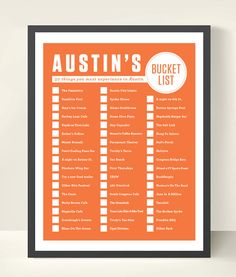 Austin, Texas Bucket List via Etsy. This is awesome! I've done a little more than half of these, but need to do more!