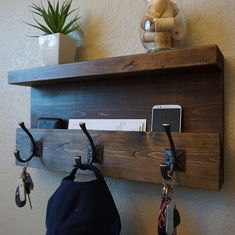 modern rustic entryway coat rack shelf and mail phone key by keodecor