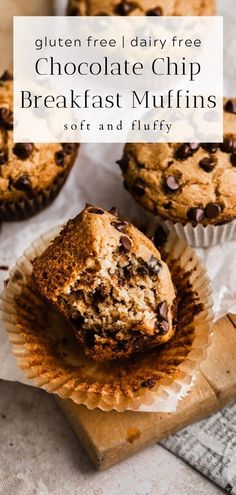 Healthy Chocolate Muffins, Dairy Free Chocolate Chips, Chocolate Chip Oatmeal, Healthy Breakfast Muffins, Gluten Free Sweets, Gluten Free Baking, Easy Baking Recipes, Dairy Free Recipes, Dairy Free Muffins