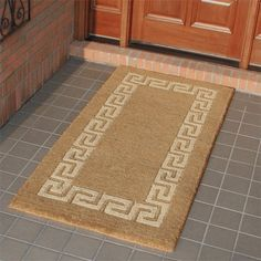 """Greek Design Rectangular Coco Mat - 30"""" x 18"""" by Maycreek. $19.95. Perfect for adding a Mediterranean look to your home, this coir doormat features a Greek design along the edges. The Greek Key Border Rectangular Coco Mat is available in multiple sizes to suit any entryway. Made of durable coir fibers harvested from coconuts husks. 100% biodegradable and compost friendly after its usable life. Mildew-resistant. Durable bristles trap dirt and absorb moisture. Design is woven..."""