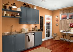 This is the project I created on Behr.com. I used these colors: BLUE METAL(HDC-AC-25)BLAZE ORANGE(260B-6),