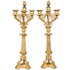 Egyptian Revival Mercury Gilt Candelabra
