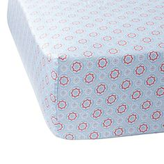 This fitted crib sheet would match perfectly! Serena & Lily Aqua/Melon Mosaic Crib Sheet