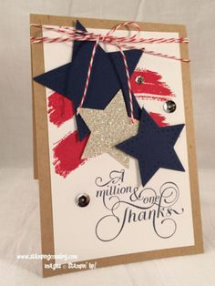 Patriotic Thank You Card, Work of Art, Stars, Stampin' Up!