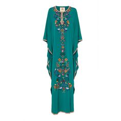 Figue Daria Embroidered Silk Caftan (€3.745) ❤ liked on Polyvore featuring tops, tunics, blue, beaded tunic, embroidered tunic, silk kaftan, caftan tops and beaded silk top