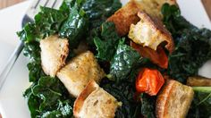 This kale panzanella salad is light, yet also filling. Add some sweet roasted cherry tomatoes with a light balsamic vinaigrette. Get the recipe from PBS.