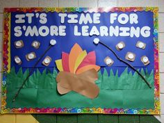 s'more learning summer camp bulletin board. smores