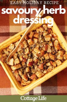 Make a feast this holiday season with this savoury herbed dressing. Add this easy recipe to your menu. #holiday #christmasdinner #dinnerideas #easyrecipes #stuffing #dressing #CottageLife Easy Holiday Recipes, Easy Recipes, Big Meals, Easy Meals, Cottage Meals, Savory Herb, Grilled Turkey, Cottage Christmas, Homemade Breakfast