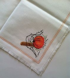 This is a new completed Pumpkin cross-stitched bread cloth. This lovely bread cloth will make a great addition to your cross-stitch collection or will be a nice gift to someone special.  The design was stitched on white Aida fabric with DMC floss, measures 15 by 15. Very clean work in the front and in the back will please and satisfy you.  The Roses design is stitched in one corner of the bread cloth with lovely complementing border stitched all over. This item is ready to ship.