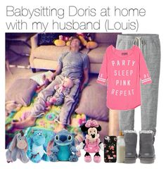 """Babysitting Doris at home with my husband (Louis)"" by vane-abreu ❤ liked on Polyvore featuring Uniqlo, Victoria's Secret PINK, Disney, UGG Australia and Cath Kidston"