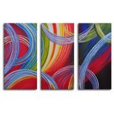 "Found it at Wayfair - Hand Painted ""Yarn Gone Wild"" 3-Piece Canvas Art Set"