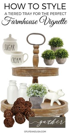 5 Essential Items You Need to Style a Farmhouse Tiered Tray If you've been wondering about the items you'll need to create that perfect farmhouse vignette for your living room or kitchen then this post is a must-read! Country Farmhouse Decor, Farmhouse Chic, Rustic Decor, Vintage Farmhouse, Country Chic, Primitive Country, Rustic Chic, Tray Styling, Home Coffee Stations