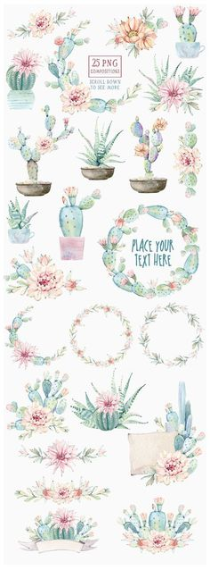 Watercolor cactuses and succulents - cactus wreaths banners and desert flowers by Lemaris Watercolor Cactus, Watercolor Pattern, Watercolor Paintings, Tattoo Watercolor, Simple Watercolor, Watercolor Animals, Watercolor Techniques, Watercolor Background, Watercolor Landscape