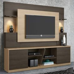 Affordable Wooden Tv Stands Design Ideas With Storage 08 - Tv wall decor Tv Emoldurada, Tv Wall Panel, Wall Tv, Tv Unit Furniture, Furniture Sets, Furniture Design, Living Room Tv Unit Designs, Modern Tv Wall Units, Modern Wall