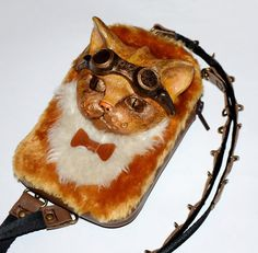 Steampunk fanny pack - Steampunk backpack Steampunk purse Steampunk toys Leather backpack Steampunk purse Steampunk phone case Steampunk cat