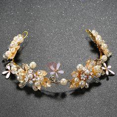 #TideBuy - #TideBuy Golden Beading Flowers Design Wedding Tiara - AdoreWe.com