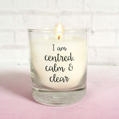 Mindfulness Scented Candle  A soothing scented candle in a glass tumbler printed with a choice of positive affirmations.  Use this candle as a way to simply relax and unwind after a hectic day or even as a mindfulness tool. Candle gazing is an example of an effective mindfulness practice to quiet the mind.  The positive affirmations 'I am grateful for today' and 'I am centred, calm & clear' encourage a positive outlook and healthy mind by being thankful and living in the moment.