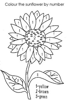 Color by Numbers Coloring Pages Elegant Flower Coloring Pages Hellokids Sunflower Coloring Pages, Summer Coloring Pages, Colouring Pages, Adult Coloring Pages, Coloring Pages For Kids, Coloring Sheets, Coloring Books, Sunflower Colors, Sunflower Pattern