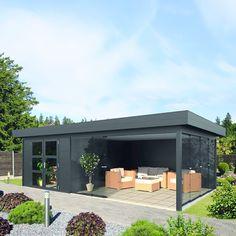 Outdoor Garden Rooms, Outdoor Patio Bar, Outdoor Kitchen Design, Outdoor Gardens, Pool House Shed, Pool Houses, Backyard Pool Designs, Backyard Sheds, Garden Cabins