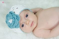 """Crocheted Beanie  Hat """"The Thayer"""" White Teal Baby Gift Bright Colorful Flower on Etsy, $22.00 CAD"""