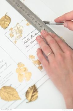 Gold Leaf Printed Wedding Invitations DIY | Photography by Wesley Vorster | DIY and Design by White Kite Studio #weddinginvitation