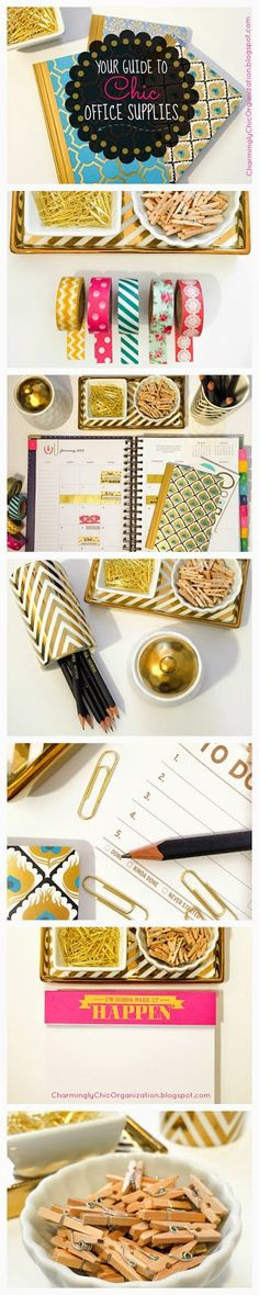 Your Guide to Finding Chic Office Supplies! Ever wonder where people are finding all that washi tape and super cute notepads?! Look no further, this guide will help you find six types of places to shop for the most trendy and fashionable pencil holders, mini bowls, gold paper clips, gold folders, washi tape, fun notebooks and MORE!