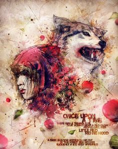 DeviantArt: More Like Little Red Riding Hood and Big Bad Wolf by maudt Red Riding Hood Wolf, Simply Red, Red Hood, Illustrations, Little Red, Lady In Red, Fairy Tales, Image, Bad Wolf