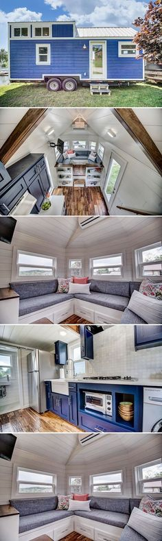 This gorgeous blue Nantucket style tiny house was built by Modern Tiny Living. The raised platform living room provides a large storage area underneath.