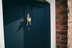 Front Door painted in Farrow & Ball Railings with Brass Fox Knocker Painting a front door with a Farrow & Ball Railings and giving the inside entryway a makeover Inside Front Doors, Painted Front Doors, Glass Front Door, Glass Doors, Dark Front Door, Cottage Front Doors, House Doors, Front Door Colors, Front Door Decor
