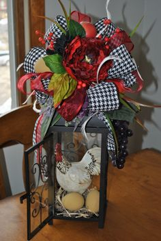 Rooster Lantern Floral Arrangement from Trendy Wreath Boutique on Etsy. https://www.etsy.com/shop/TrendyWreathBoutique?ref=si_shop